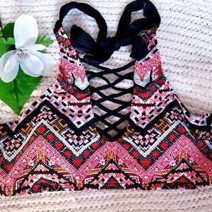 Coral Border print Cage neck Bikini Top